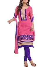 Pink And Purple Chanderi Cotton Unstitched Suit Set - By