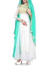 Green And White Georgette Unstitched Suit Set - By