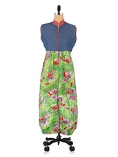 Multicoloured Denim Brasso Printed Kurti - By