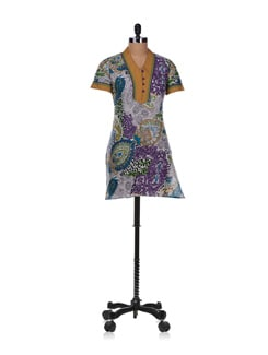 Multicoloured Printed Cotton Cambric Kurta - Diva