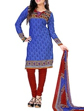 Blue And Maroon Printed Unstitched Suit Set - By
