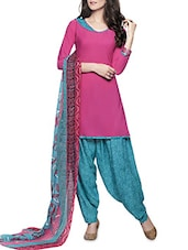 Pink And Turquoise Unstitched Suit Set - By