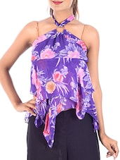 purple floral printed polyester top -  online shopping for Tees