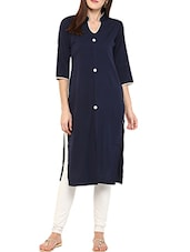 Blue Poly Crepe Long  Kurta - By
