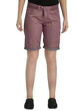 purple cotton regular shorts -  online shopping for Shorts