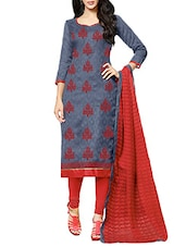 grey cotton churidaar suits unstitched suit -  online shopping for Unstitched Suits