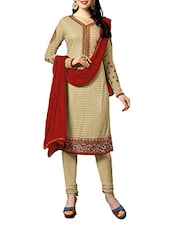 Beige And Red Embroidered Unstitched Suit Set - By