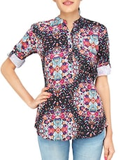 black printed cotton regular top -  online shopping for Tops