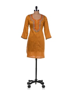 Yellow Printed Kurta With Floral Neckline - Diva