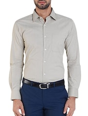 beige cotton formal shirt -  online shopping for formal shirts