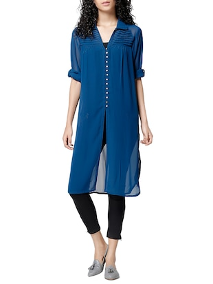 blue georgette regular tunic -  online shopping for Tunics