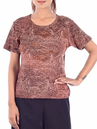 brown printed viscose regular top -  online shopping for Tops