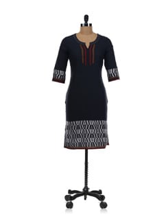 Black Kurta With Weave Work - Aurelia