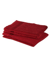 Red Plain Cotton Set Of 2 Hand Towels - By