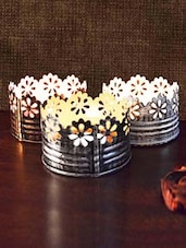 Set Of 3 Candle Votive With Petal Cutwork - By
