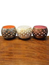 Set Of 3 Candle Votive With Circular Cutwork - By