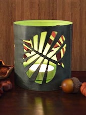 Green Candle Votive With Leaf Cutwork - By
