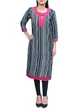 Carbon Black With Maroon Cotton Long Kurta - By