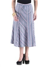 Multicolored Cotton Striped Skirt - By