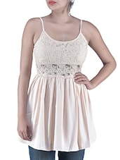 Pink Plain Polyester Laced Fabric Dress - By