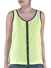 Green Plain Polyester Top - By