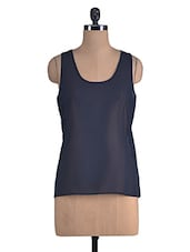 Blue Plain Polyester Sleeveless Top - By
