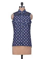 Navy Blue Polka Dotted High-low Cotton Shirt - By