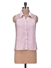 Peach Polyester Shirt With Lace Panels - By