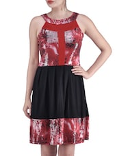 Red Viscose Net Sequined Dress - By