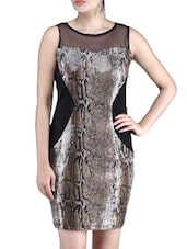 Brown Viscose Net Sequined Dress - By