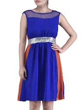 Royal Blue Georgette Net Sequined Dress - By