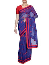 Spade Pattern Work Sheer Net Saree - By