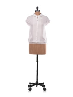 White Boxy Shirt With Pleats - Chemistry