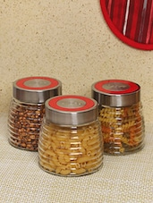 Silver Glass Steel 3 Piece Jar Set - By