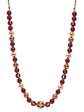 Maroon And Gold Beads Dori Necklace - By