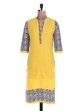 Yellow Printed Quarter-sleeved Cotton Kurta - By