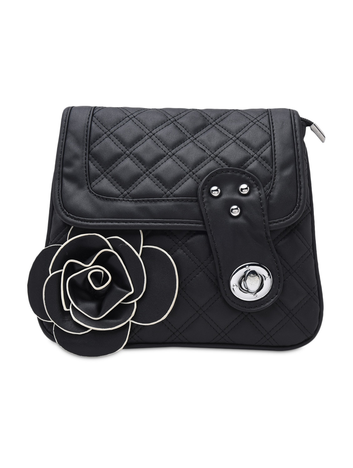 Quilted Black Faux Leather Sling Bag - By