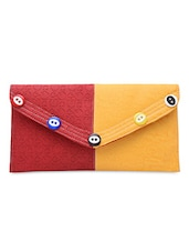 Yellow And Red Faux Leather Envelope Clutch - By