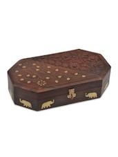 Brown Wooden Heart And Leaf Jewellery Box - By