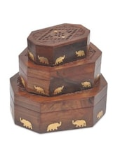 Brown Wooden Center Star Jali 3 Piece Jewellery Box - By