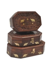Brown Wooden Two Elephant 3 Piece Jewellery Box - By