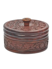 Brown Wooden Dry Fruit Box With Cover - By