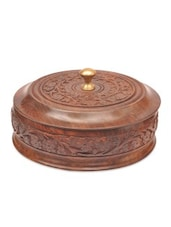 Brown Wooden Floral Dry Fruit Box With Cover - By