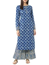 Blue Cotton Printed Kurta with Palazzo -  online shopping for Sets