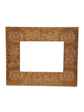 Brown Wooden Corner Floral Photo Frame - By