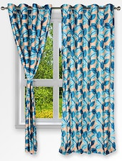 Leaf Printed Blue Window Curtains (Set Of 2) - By