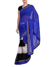 Blue Zari Embroidered Net Sari - By