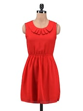 Solid Red Cotton Spandex Dress - By