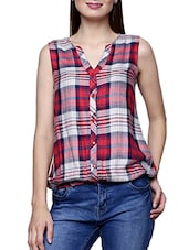 red checkered viscose top -  online shopping for Tops
