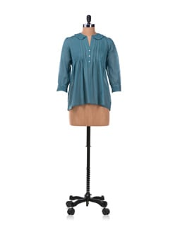 Teal Pleated Shirt With Lace Collar & Cuffs - Chemistry